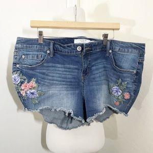 Torrid Denim Embroidered Shorts 18